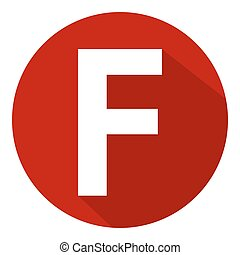 Letter F in red circle on white background. Vector illustration.?