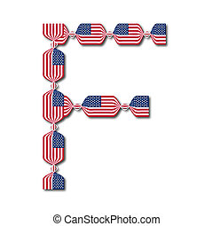 Letter F made of USA flags in form