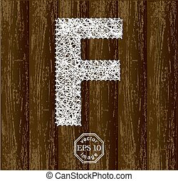 Letter F, made with threads on pins