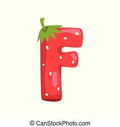 Letter F of English alphabet made from ripe fresh srawberry, bright red berry font vector Illustration on a white background