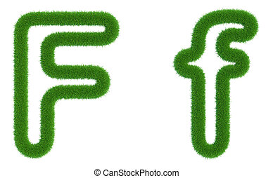 Letter F of green fresh grass isolated on a white background.