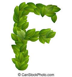 Letter F of green leaves alphabet