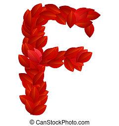 Letter F of red petals alphabet
