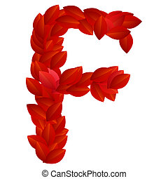 Letter F of red petals alphabet