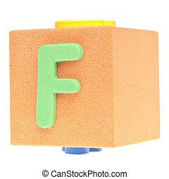 Letter F on Foam Block