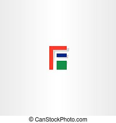 letter f red green blue icon