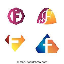 Letter F set logo