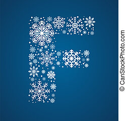 Letter F, vector font frosty snowflakes
