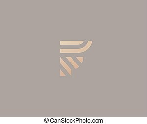 Letter F vector line logo design. Creative minimalism logotype icon symbol.