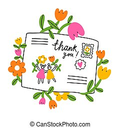 Letter for a friend, cartoon envelope with flowers, vector illustration