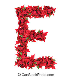 letter from red christmas flowers isolated on white
