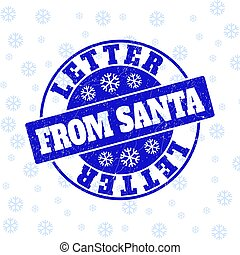 Letter from Santa Grunge Round Stamp Seal for Christmas
