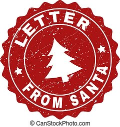 LETTER FROM SANTA Grunge Stamp Seal with Fir-Tree