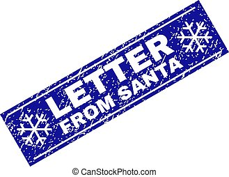 LETTER FROM SANTA Scratched Rectangle Stamp Seal with Snowflakes