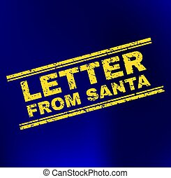 LETTER FROM SANTA Scratched Stamp Seal on Gradient Background