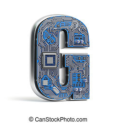 Letter G.  Alphabet in circuit board style. Digital hi-tech letter isolated on white.