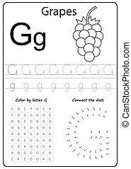 letter G. Alphabet letter. Worksheet. Task for kids. learning letters