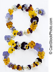 letter g alphabet made from pansy flowers