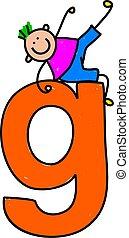 letter G boy - happy little boy climbing over giant letter G...