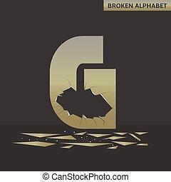 Letter G. Broken mirror
