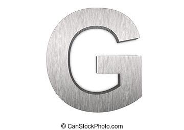 Brushed metal letter G
