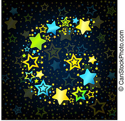 Letter G cartoon kid style vector font with colored stars