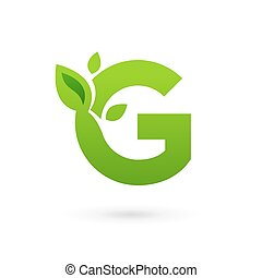 Letter G eco leaves logo icon design template elements....