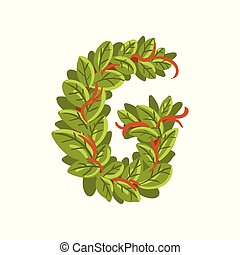 Letter G, English alphabet made of tree branches, ecology element for banner, card, label, presentation or poster vector Illustration