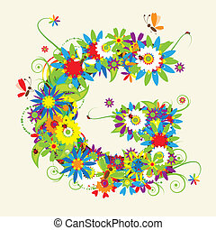 Letter G, floral design. See also letters in my gallery