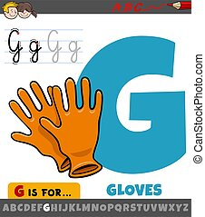 letter G from alphabet with cartoon gloves