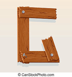 Letter G From vector Wooden Alphabet