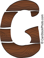 Letter G from wood isolated on the white. Vector