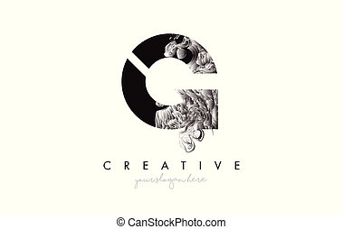 Letter G Logo Design Icon with Artistic Grunge Texture In Black and White