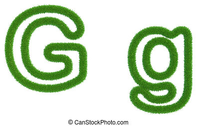 Letter G of green fresh grass isolated on a white background.