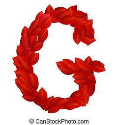 Letter G of red petals alphabet