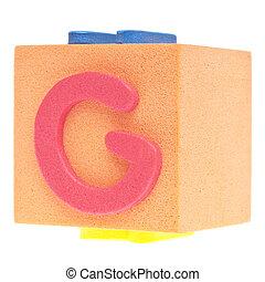 Letter G on Foam Block