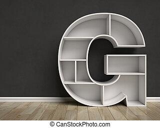 Letter G shaped shelves
