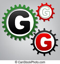 Letter G sign design template element. Vector. Three connected g