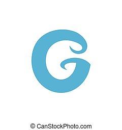 letter g simple geometric blue waves logo vector