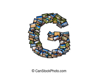 Letter G uppercase font shape alphabet collage made of my...