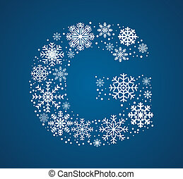 Letter G, vector font frosty snowflakes