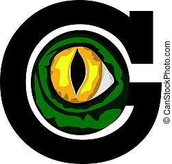 Letter G with alligator eyes