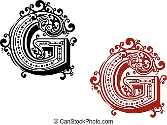 Letter G with ornamental flourishes - Letter G in uppercase...