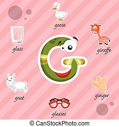 Letter G with words