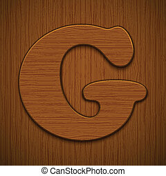 "Letter ""G"". Wooden alphabet. Vector illustration."