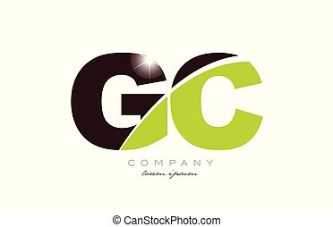 letter gc g c alphabet combination logo icon design with green and brown color suitable for a company or business