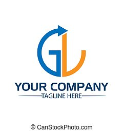 Letter GL with arrow. GL initial., flat design. technology...