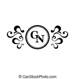 Letter GN logo icon design template elements - Vector Letter...