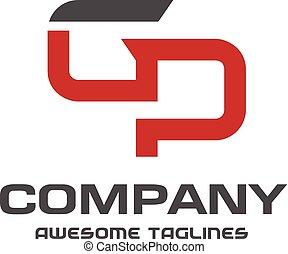 letter gp logo design vector