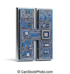Letter H. Alphabet in circuit board style. Digital hi-tech letter isolated on white.